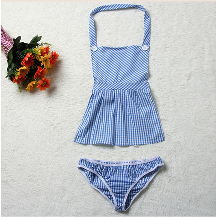 Sexy Plaid Apron Maid Lingerie House Maid Cosplay Costume Set N16820