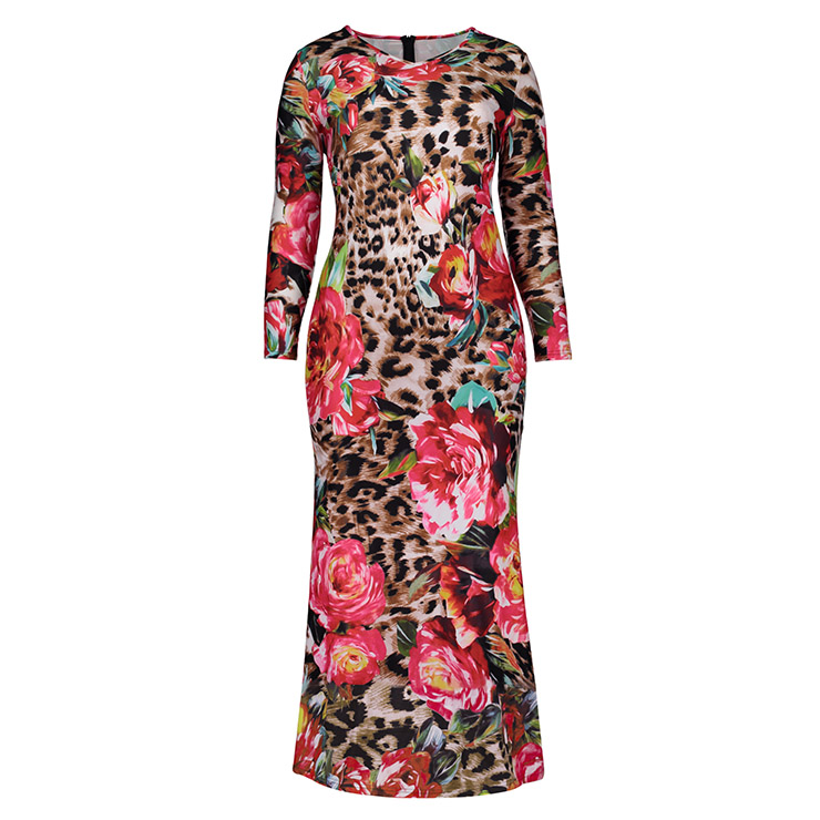 Women's V Neck Long Sleeve Flower Leopard Print Plus Size Maxi Dress N15752