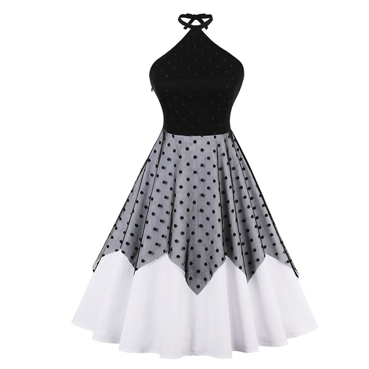 Women's 1950's Vintage Halter Polka Dot Mesh Patchwork Swing Dress N15749