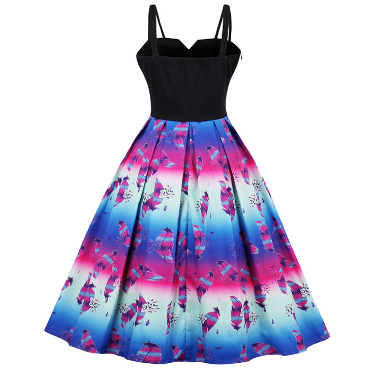 Sexy Women's Vintage Strappy Colorful Ruffled Swing Dress N14446