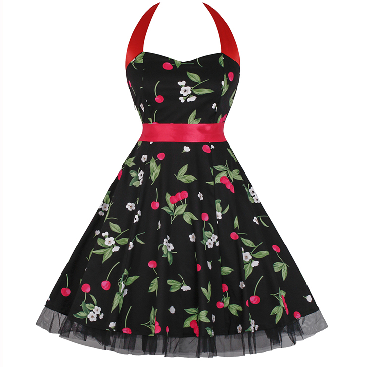Vintage Sweetheart Neckline Halter Backless Cherry Print Casual Swing Knee-length Dress N14854