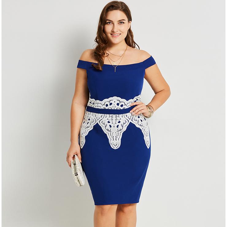 Women\'s Blue Off Shoulder Lace Appliques Plus Size Bodycon ...