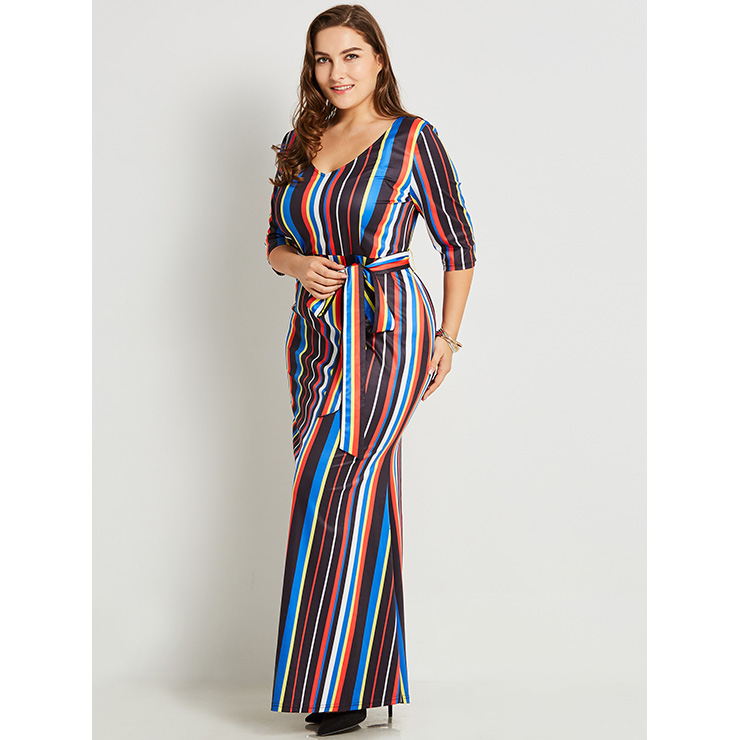 Women's V Neck Half Sleeve Multicolor Stripe Plus Size Maxi Dress N15777
