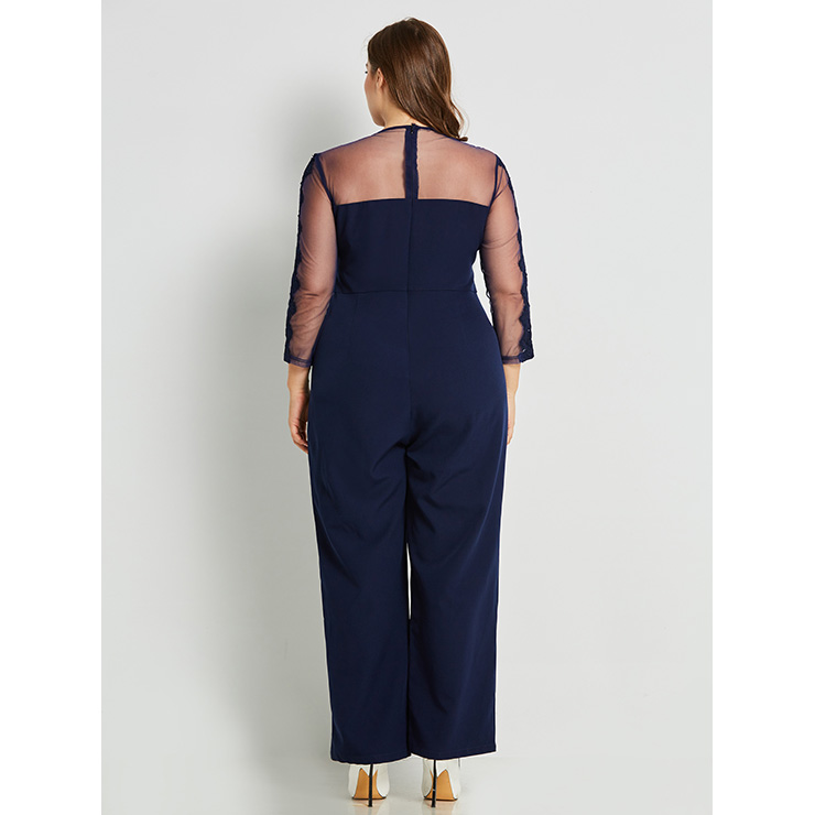 Women's Sexy Blue Round Neck Long Sleeve See-Through Mesh Plus Size Jumpsuit N15771