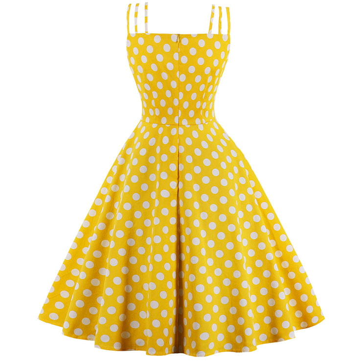 Sexy Yellow Vintage Strappy Polka Dot Printed Swing Summer Day Dress N17097