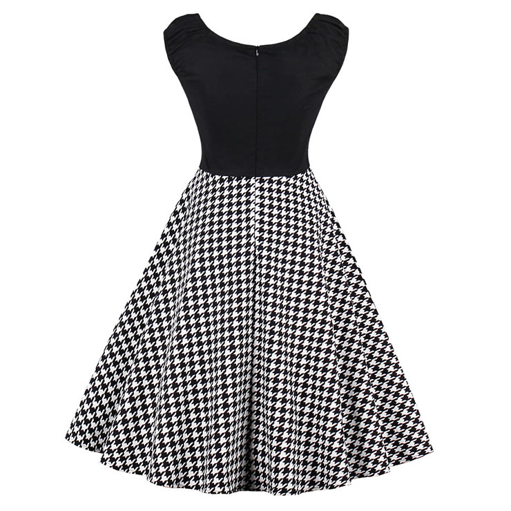 Women's Vintage Cap Sleeve Round Collar Houndstooth Print Patchwork Swing Dress N15425