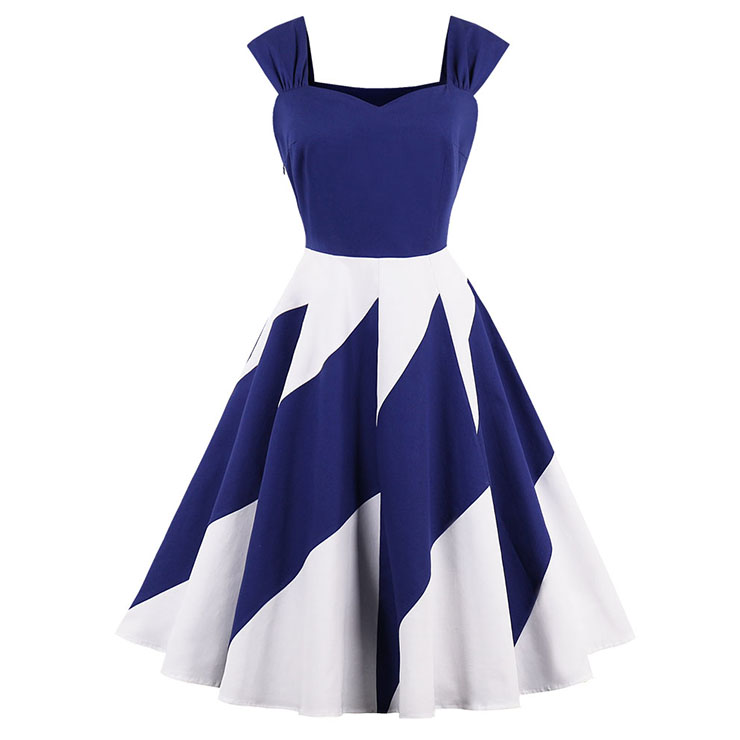 Fashion Vintage Blue Thick Shoulder Straps Color-block Patchwork Casual Swing Dress N15635