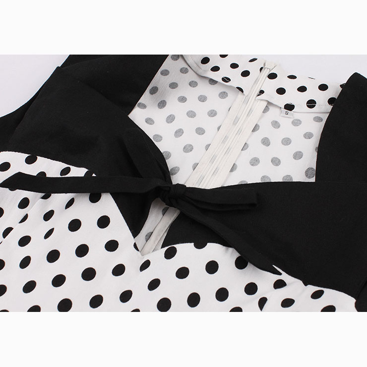 Women's Vintage Sleeveless Dot Print Plus Size Swing Dress N15505
