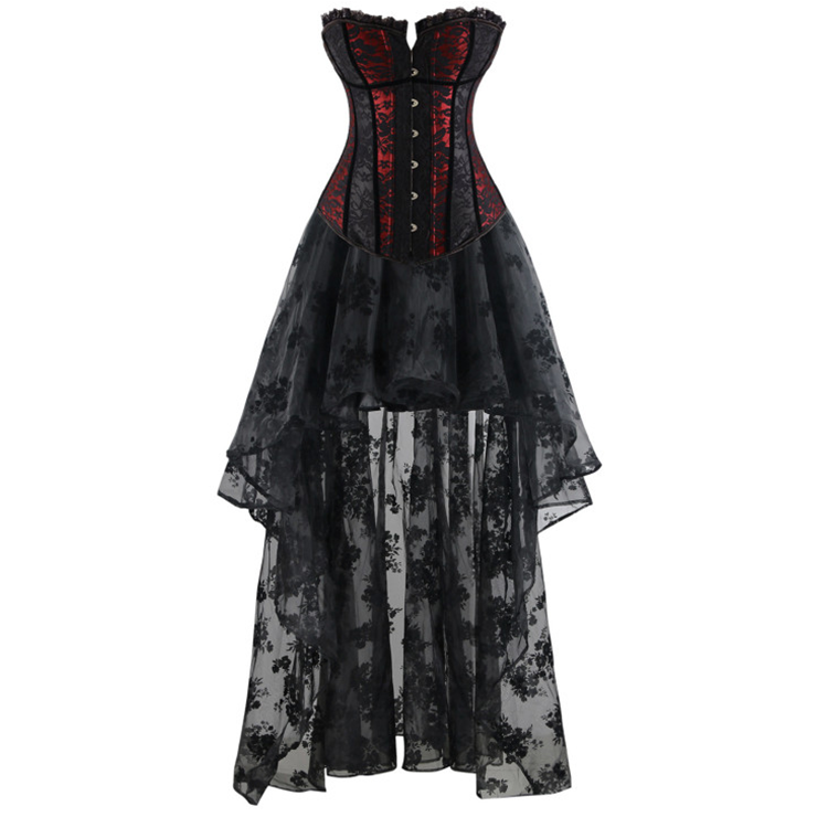 Women's Fashion Sexy Black and Red Lace Corset Organza Skirt Set N15452