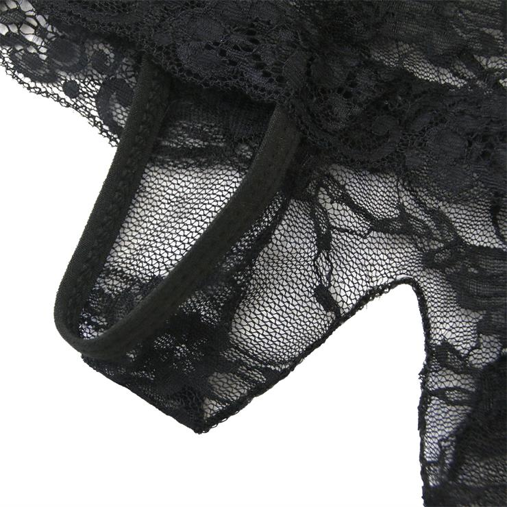 Sexy Black Open Crotch Lace-up Lace Plus Size Panty Lingeriw Underwear PT17531