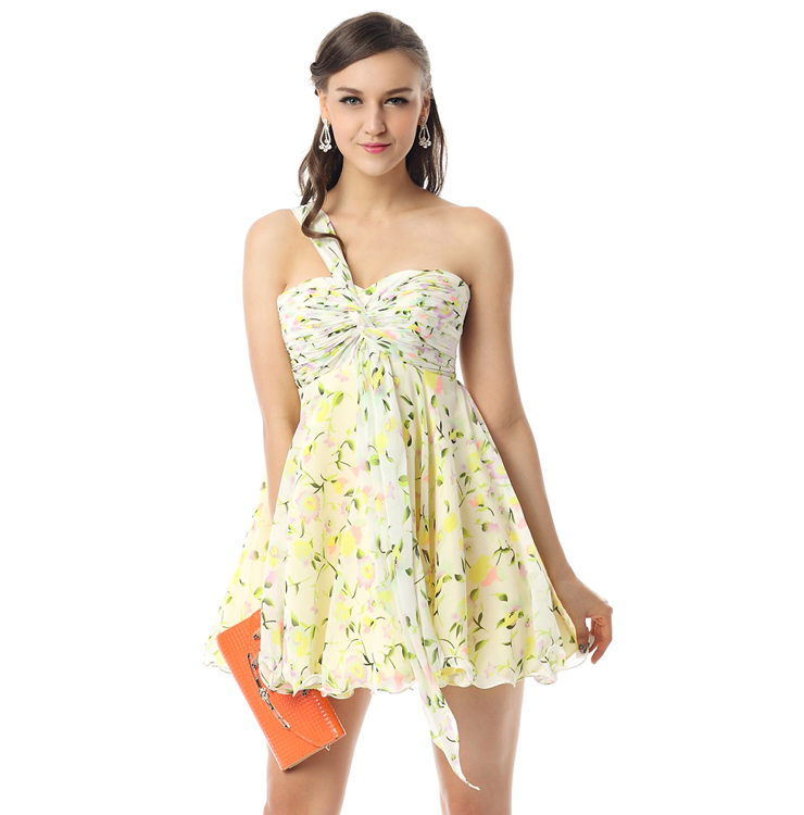 shoulder flora print mini dress