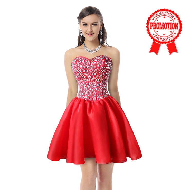 2017 Sexy Red A-line Sweetheart-neck Crystal Short/Mini Cocktail/Prom Dresses Y30090
