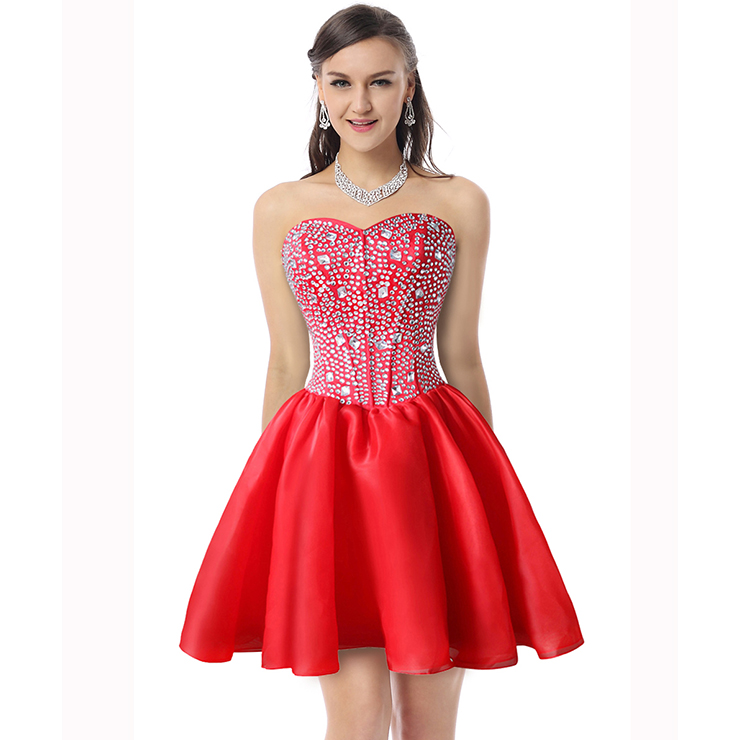 2018 Sexy Red A-line Sweetheart-neck Crystal Short/Mini Cocktail/Prom Dresses Y30090